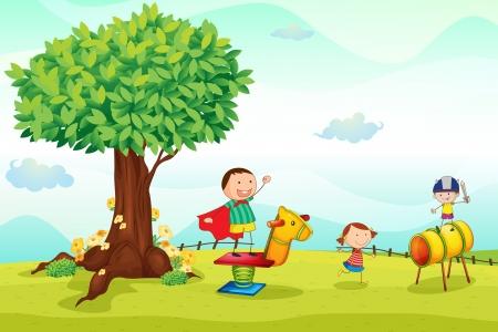 Illustration pour illustration of a kids playing in nature - image libre de droit