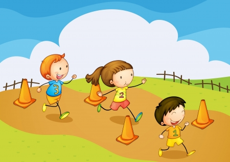 illustration of a kids running in nature