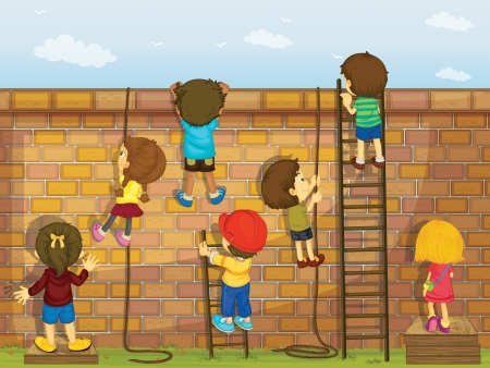 Illustration of kids climbing a wall