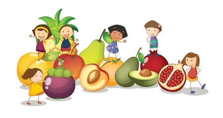 illustration of kids and fruits on a white background