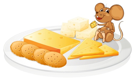 Illustration for illustration of a biscuits, cheese and mouse on a white background - Royalty Free Image