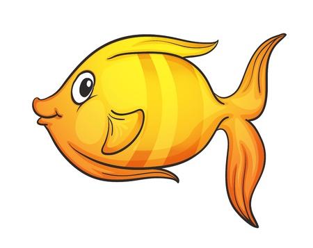 Illustration pour illustration of yellow fish on a white background - image libre de droit