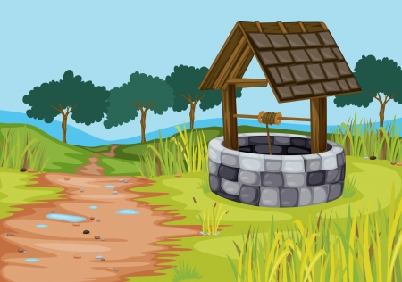 Illustration pour detailed illustration of a well in beautiful farm - image libre de droit