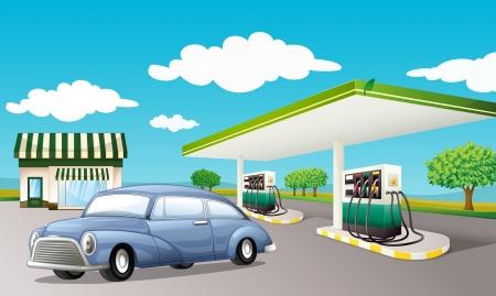 Illustration pour Illustration of a gas station - image libre de droit