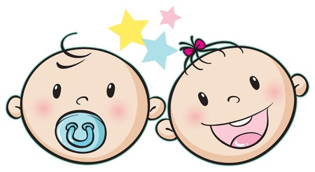 illustration of a baby faces on a white background