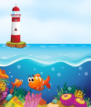 illustratio of a light house, fishes and coral in sea