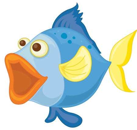 illustration of a blue fish on a white background