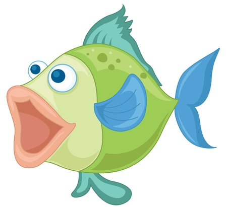 illustration of a blue-green fish on a white background