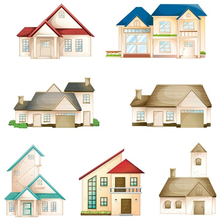 illustration of various houses on a white background