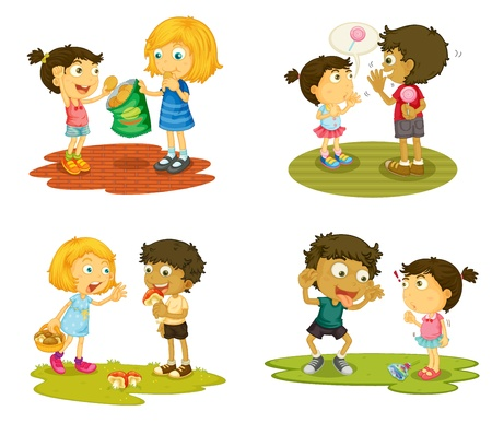 illustration of kids with various activites on a white background