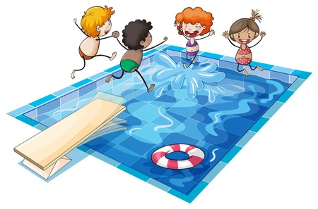 illustration of kids and a swimming pool on a white background