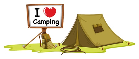 illustration of a tent and a notice board on a white background
