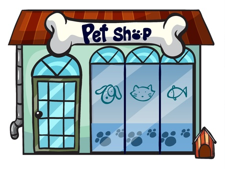 illustration of a pet shop on a white background