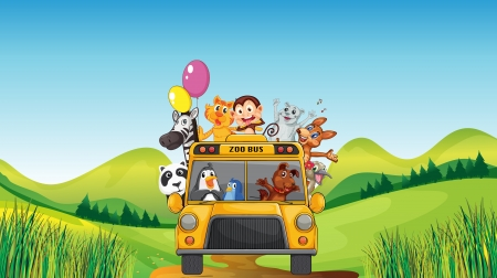 Photo pour illustration of various animals and zoo bus in a beautiful nature - image libre de droit