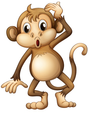 Illustration of a tired monkey on a white background