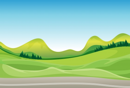 Illustration of a road and a beautiful landscape