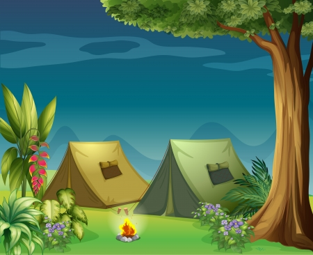 Illustration of tents in the jungle