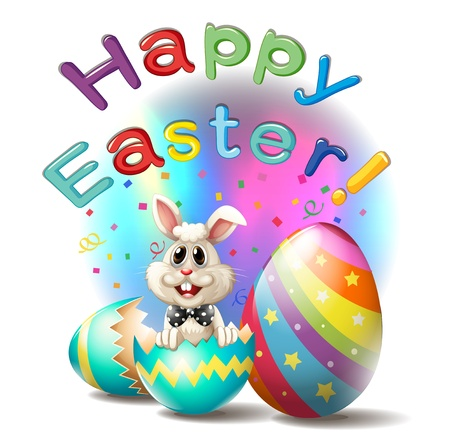 Illustration of a happy easter poster on a white background