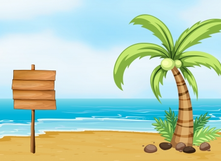 Illustration pour Illustration of a coconut tree and an empty board at the beach - image libre de droit