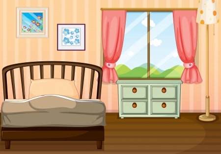 Illustration of an empty bedroom