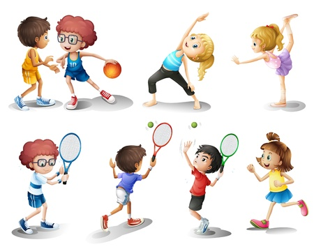 Illustration of kids exercising and playing different sports on a white background