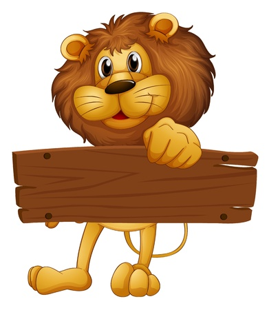 Illustration of an empty wooden board brought by the lion on a white background