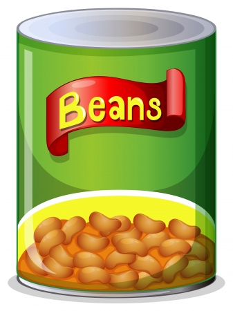 Illustration of a can of beans on a white background