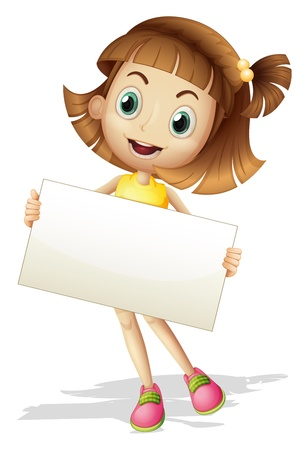 Illustration for Illustration of a girl with a card board on a white background - Royalty Free Image