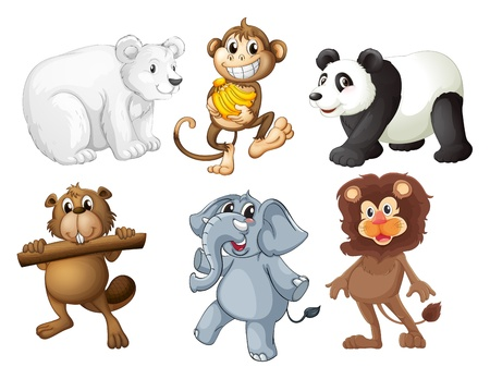 Illustration of the animals in the woods on a white background