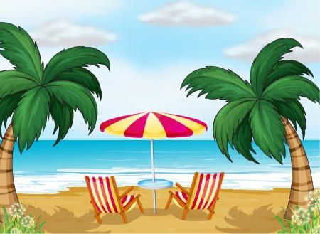 Illustration pour Illustration of the view of the beach with a beach umbrella and chairs - image libre de droit