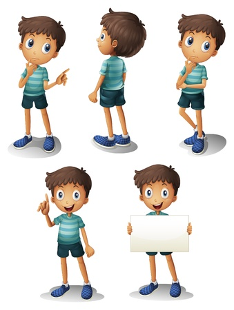 Illustration of a young boy in different positions on a white background