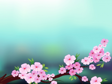 Illustration of a stationery with cherry blossom flowers