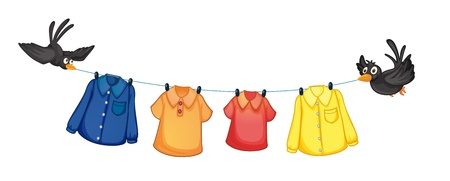 Illustration for Illustration of the four different clothes hanging with birds on a white background - Royalty Free Image
