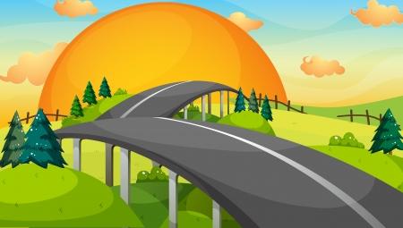 Photo pour Illustration of a long road with a sunset - image libre de droit