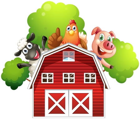 Illustration of a barn with animals at the rooftop on a white background