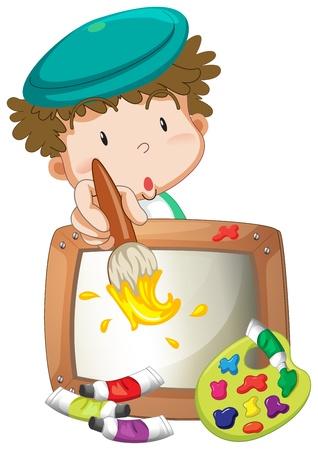 Ilustración de Illustration of a little boy painting on a white background  - Imagen libre de derechos