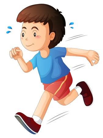 Illustration of a kid running on a white background