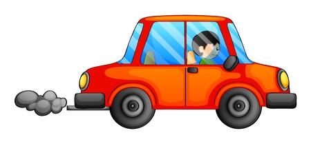 Illustration pour Illustration of an orange car emitting a dark smoke on a white background - image libre de droit