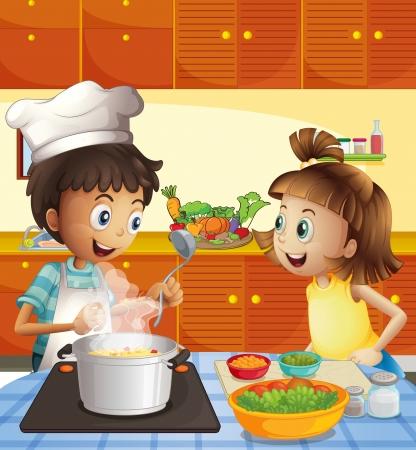 Illustration pour Illustration of the kids cooking at the kitchen - image libre de droit