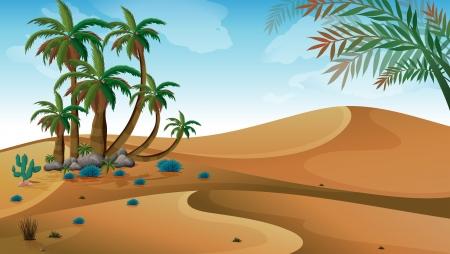 Illustration pour Illustration of a desert with palm trees - image libre de droit