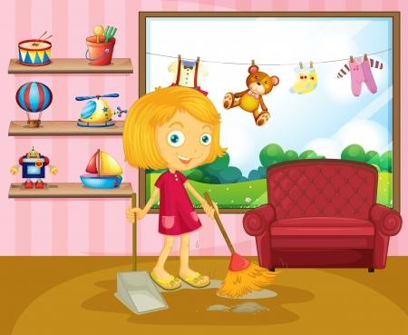 Ilustración de Illustration of a girl sweeping inside the house  - Imagen libre de derechos