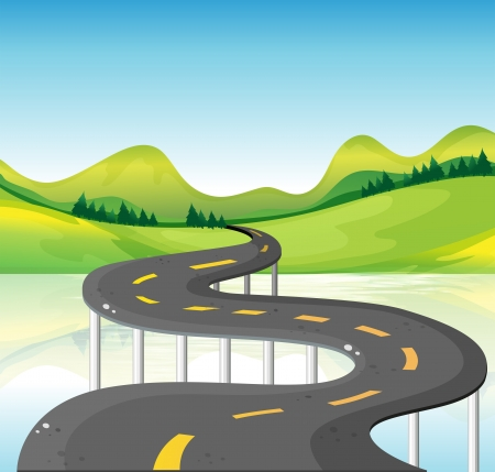 Illustration for Illustration of a very narrow curve road - Royalty Free Image