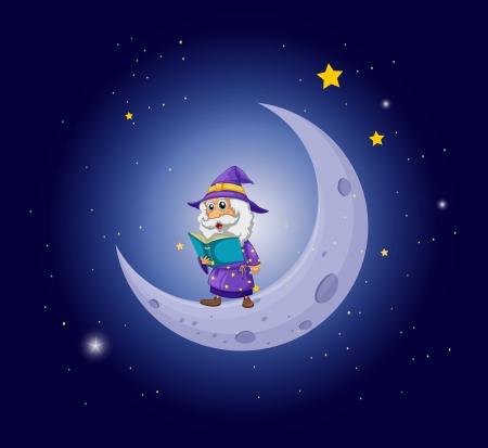 Ilustración de Illustration of a wizard holding a book near the moon - Imagen libre de derechos