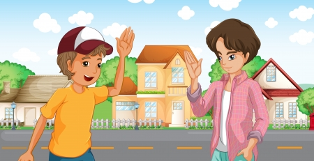 Illustration for Illustration of the two boys meeting across the big houses at the road - Royalty Free Image