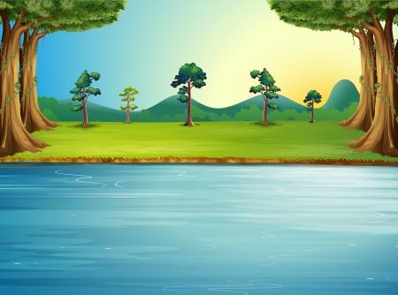 Ilustración de Illustration of a forest with a river - Imagen libre de derechos