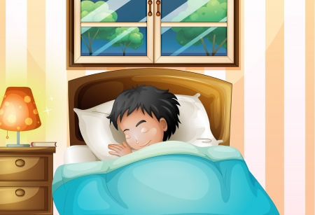 Illustration of a boy sleeping soundly in his room
