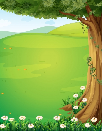 Illustration pour Illustration of a view of the hills with a tree and flowers - image libre de droit