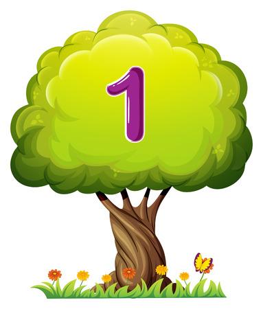 Ilustración de Illustration of a tree with a number one figure on a white background - Imagen libre de derechos
