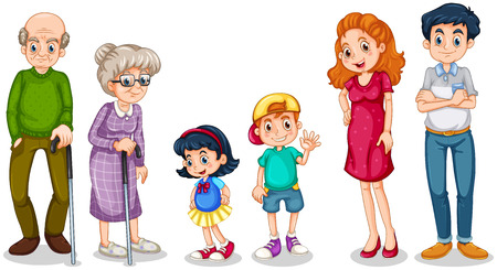 Illustration for Illustration of a happy family with their grandparents on a white background - Royalty Free Image
