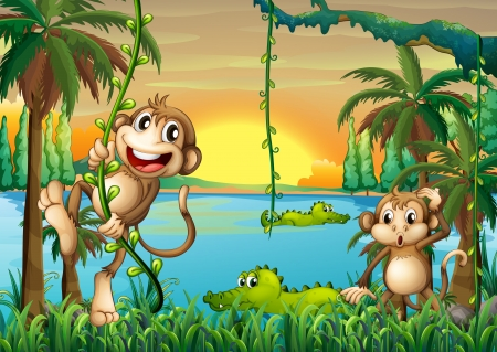Illustration pour Illustration of a lake with crocodiles and monkeys playing - image libre de droit